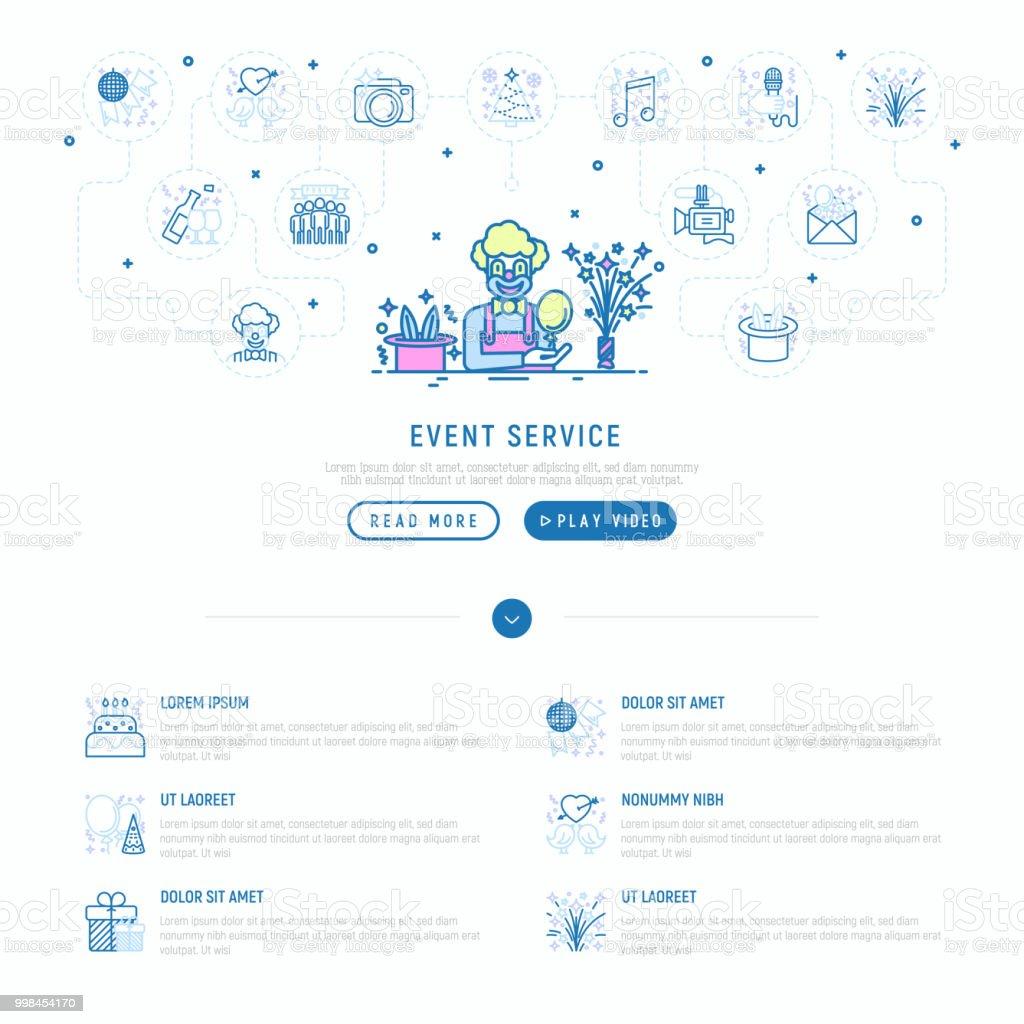 Ilustración de Concepto De Servicios Evento Payaso Con Globo Y ...