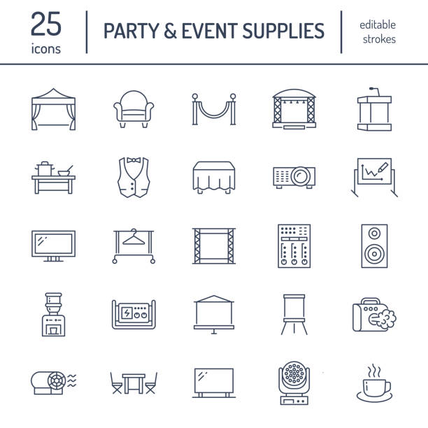 Event supplies flat line icons. Party equipment - stage constructions, visual projector, stanchion, flipchart, marquee. Thin linear signs for catering, commercial rental service Event supplies flat line icons. Party equipment - stage constructions, visual projector, stanchion, flipchart, marquee. Thin linear signs for catering, commercial rental service. party conference stock illustrations