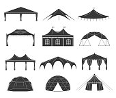 Event tent set. Black fabric shelter silhouette, for party rentals, wedding, outdoor and summer events houses. Vector flat style cartoon illustration isolated on white background