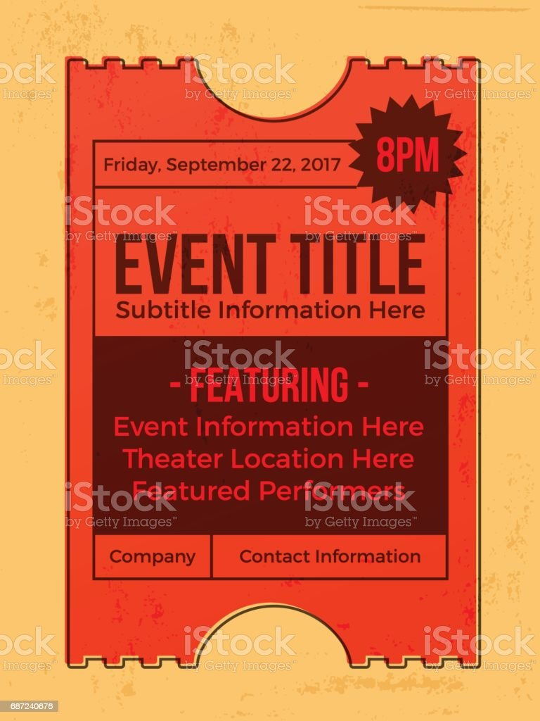 Event Ticket Annoucement vector art illustration