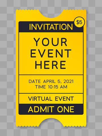 Event ticket poster vertical information virtual event yellow ticket design illustration vector.