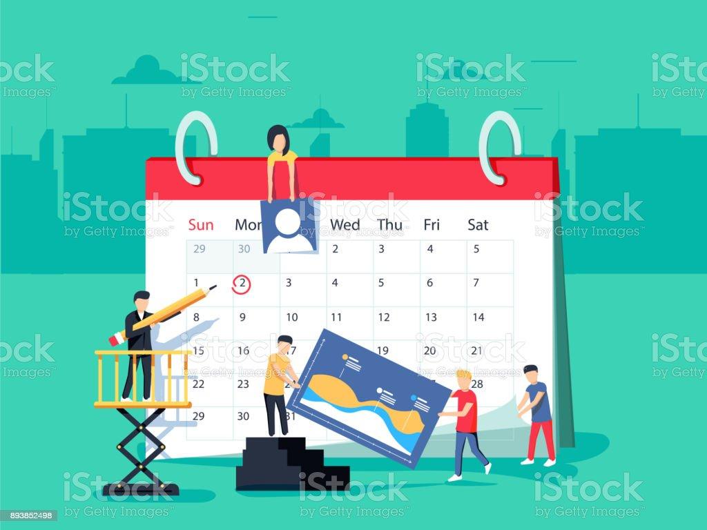 Veranstaltungen. Flaches Design Menschen Geschäftskonzept für Unternehmensplanung, Veranstaltungen und News, Erinnerung und Zeitplan. – Vektorgrafik