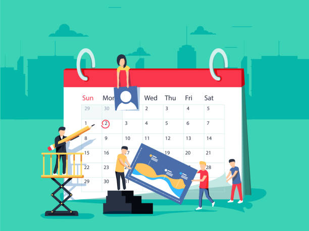 events. flat design business people concept for business planning, events and news, reminder and schedule. - abstract calendar stock illustrations, clip art, cartoons, & icons
