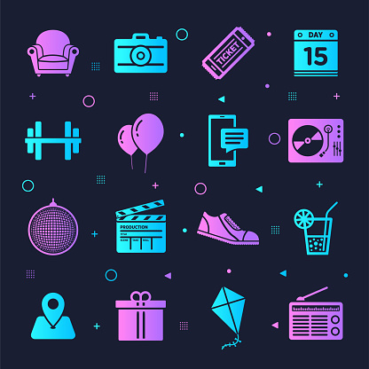 Events Tickets & Nightlife Neon Style Vector Icon Set