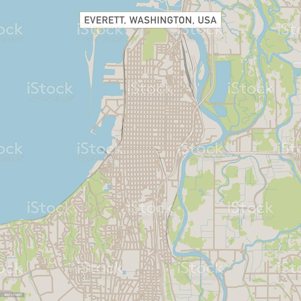 Everett Washington Us City Street Map Stock Vector Art & More Images ...
