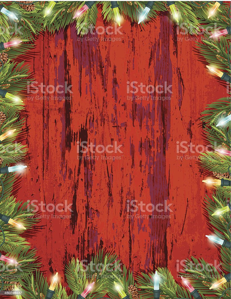 Evergreen Christmas Lights Wood Background royalty-free stock vector art
