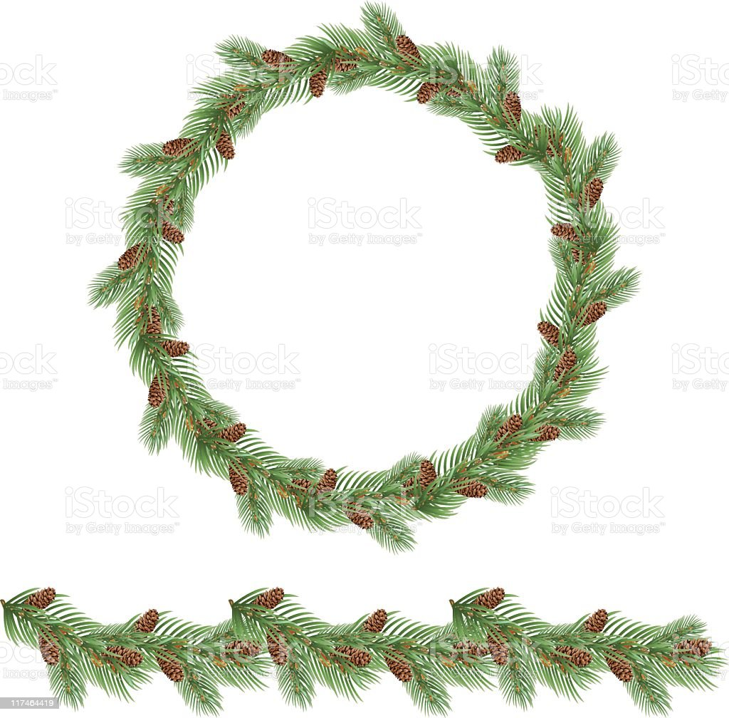 Evergreen Garland And Wreath Stock Vector Art & More ...
