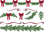 Evergreen Design Elements. Christmas decoration evergreen garland swags and design elements clipart with red ribbons and red bows.  The evergreen swags,boughs,ribbons and branches are of various lengths. The elements can be easily manipulated.