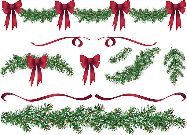 Evergreen Garland Swags and Design Elements Clipart with Red Bows Evergreen Design Elements. Christmas decoration evergreen garland swags and design elements clipart with red ribbons and red bows.  The evergreen swags,boughs,ribbons and branches are of various lengths. The elements can be easily manipulated.  christmas clipart stock illustrations