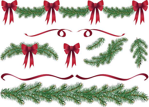 illustrations, cliparts, dessins animés et icônes de evergreen garland swags et des éléments de design avec noeuds rouges clipart - guirlande
