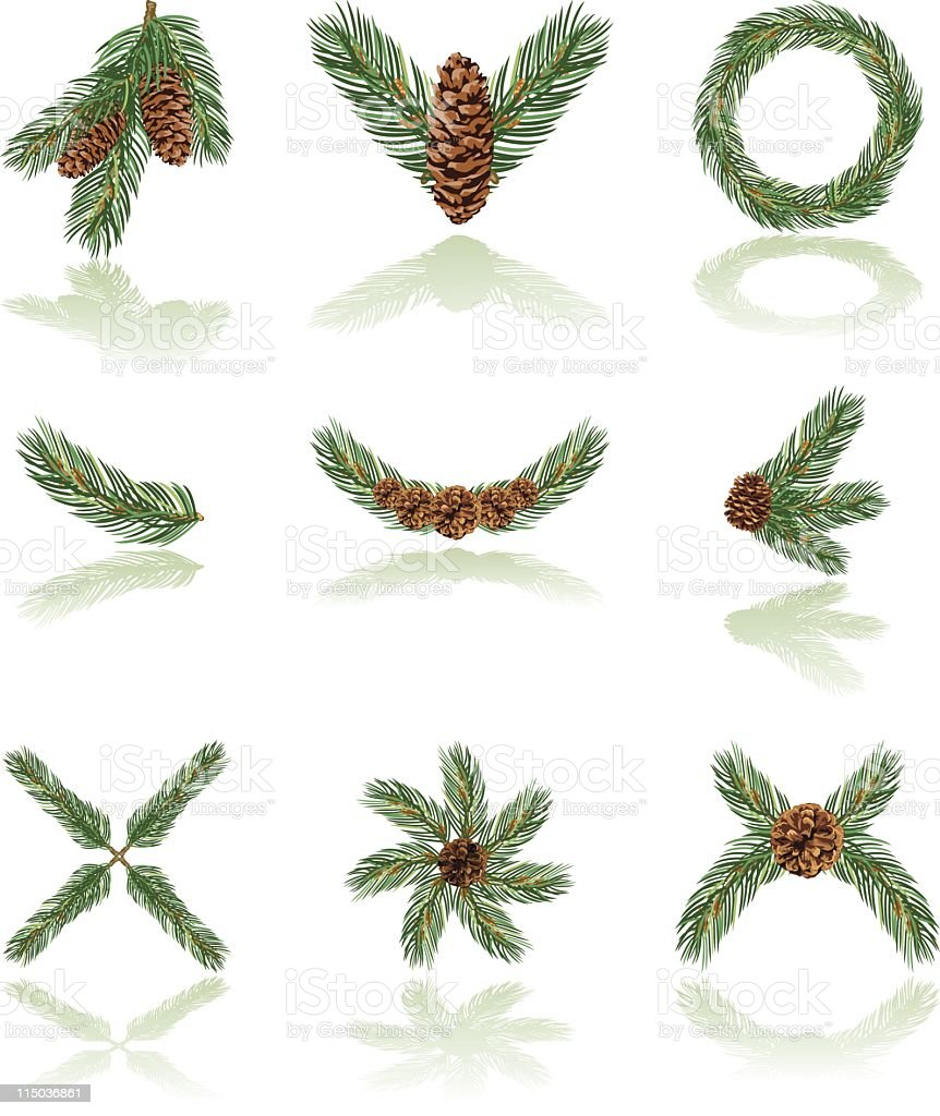 Evergreen icon set vector art illustration