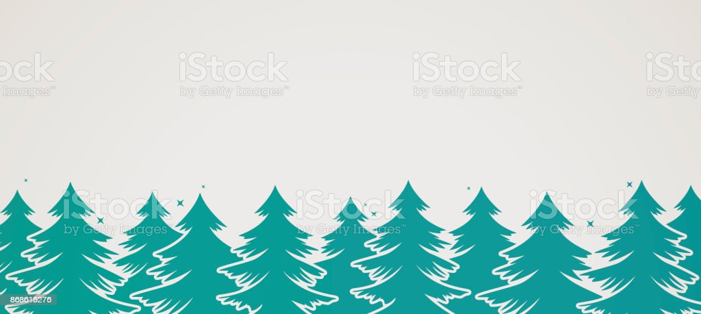 Evergreen Pine Tree Background vector art illustration