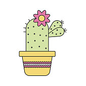 Evergreen plant illustration. Vector cactus in flat style. Fashionable and modern illustration of a cute cactus.