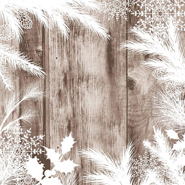 Evergreen siluetas sobre un fondo de textura de madera con espacio de copia - ilustración de arte vectorial