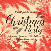 Evergreen Silhouettes Party Invitation on a textured Parchment background. Snowflakes and various evergreen plants. Copy space in the center. Great for holiday menu, greeting card, invitation template.