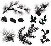 Evergreen tree elements silhouettes with various sized Pine cones and multiple sprigs of evergreen branches. Spruce and holly leaf with berries silhouettes. Elements can be manipulated and moved.