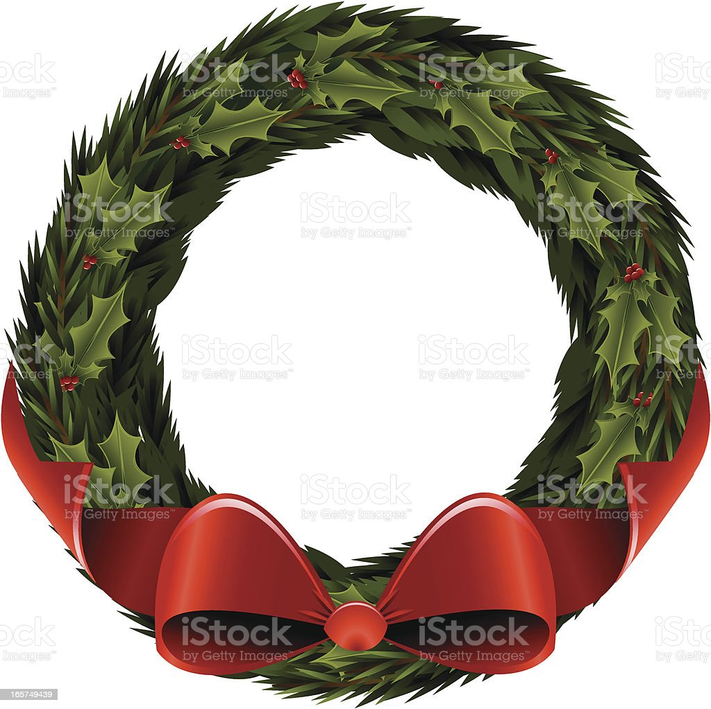 Evergreen Wreath with Holly and Bow royalty-free stock vector art