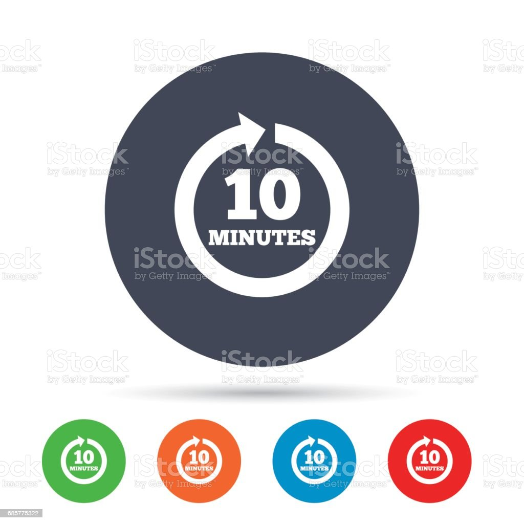 Every 10 minutes sign icon. Full rotation arrow. royalty-free every 10 minutes sign icon full rotation arrow stock vector art & more images of arrow symbol