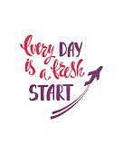 Every day is a fresh start. Inspirational quote about happiness. Modern calligraphy phrase with hand drawn plane. Simple vector lettering for print and poster.
