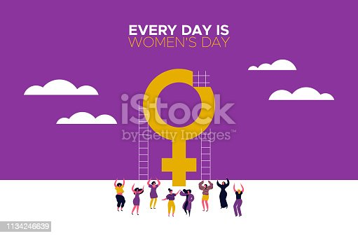 Every Day is Womens day card with girls dancing