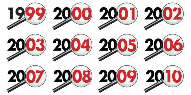 stockillustraties, clipart, cartoons en iconen met elk jaar van een decennium onderzocht onder de microscoop, van 1999 tot 2010. - 1990 1999