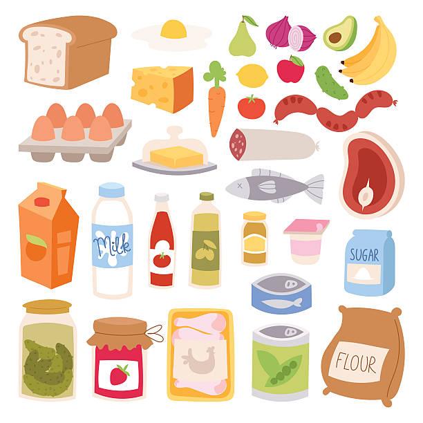 everyday food vector illustration. - mehl stock-grafiken, -clipart, -cartoons und -symbole