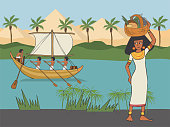 everyday life in Anicient Egypt,  cartoon woman in historical clothing style with food basket on her head at pyramids and Nile river background