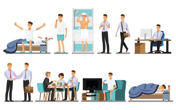 Everyday life ,Man Daily Routine People character  ,Vector illustration Everyday life ,Man Daily Routine People character  ,Vector illustration watching tv stock illustrations