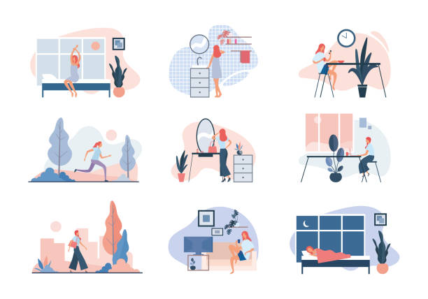 Everyday life of modern woman. Flat vector illustration Everyday life of modern woman. Set of vector illustrations of daily routine of contemporary woman doing ordinary everyday activities from morning till night at home and at work active lifestyle stock illustrations