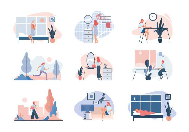 bildbanksillustrationer, clip art samt tecknat material och ikoner med vardagen för den moderna kvinnan. platt vektorillustration - morgon