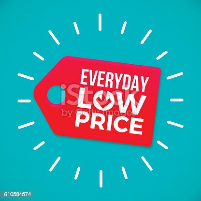 Everyday low price sale tag concept. EPS 10 file. Transparency effects used on highlight elements.