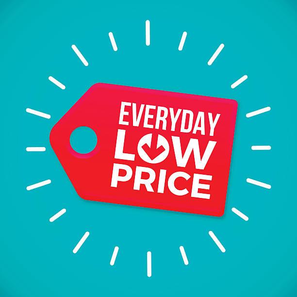 everyday low price sale tag - przywieszka z ceną stock illustrations
