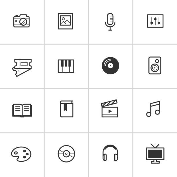 Everyday Media Icons — Inky Series vector art illustration