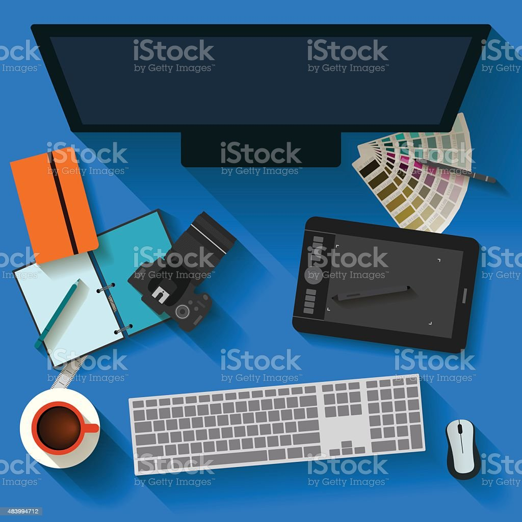 Everyday objects in trendy flat style with long shadow. vector art illustration