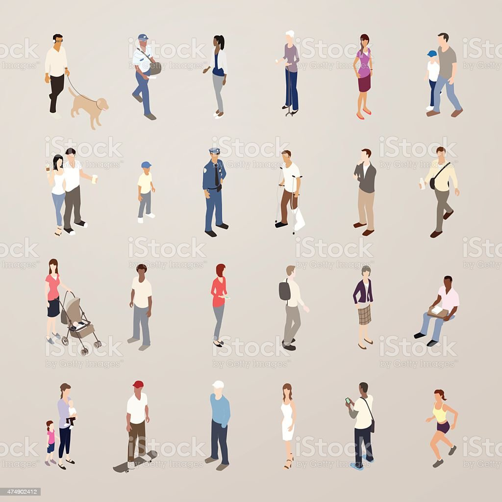 Everyday People - Flat Icons Illustration vector art illustration
