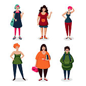 Everyday women in casual wear.Girls cartoon character set isolated on white. Ordinary female characters icon collection, flat style. Middle age people.
