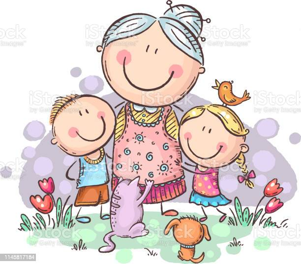 Everyone loves granny grandmother with grandchilren and pets colorful vector id1145817184?b=1&k=6&m=1145817184&s=612x612&h=ry6bpetuve rate2b qizhebahqsquzmtydcpnu7li8=