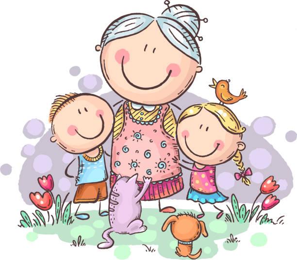 ilustraciones, imágenes clip art, dibujos animados e iconos de stock de todo el mundo ama a la abuela, abuela con nietos y mascotas, colorido vector clipart - nietos