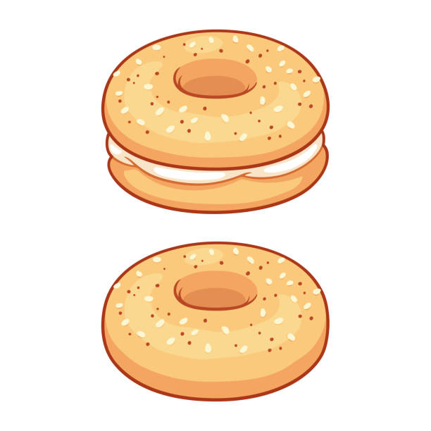 Everything bagel with cream cheese Everything bagel with cream cheese, traditional American breakfast or lunch food. Isolated vector illustration. bread clipart stock illustrations