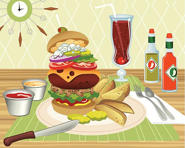alles burger - salatbar stock-grafiken, -clipart, -cartoons und -symbole