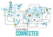 Social media and global communications illustration depicting connections between individuals and different cloud based services, music, ideas and messages flow.
