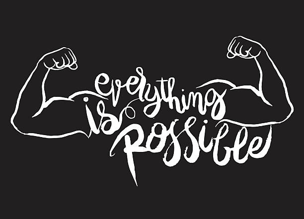 everything is possible card.strong man.Hand drawn lettering post vector art illustration