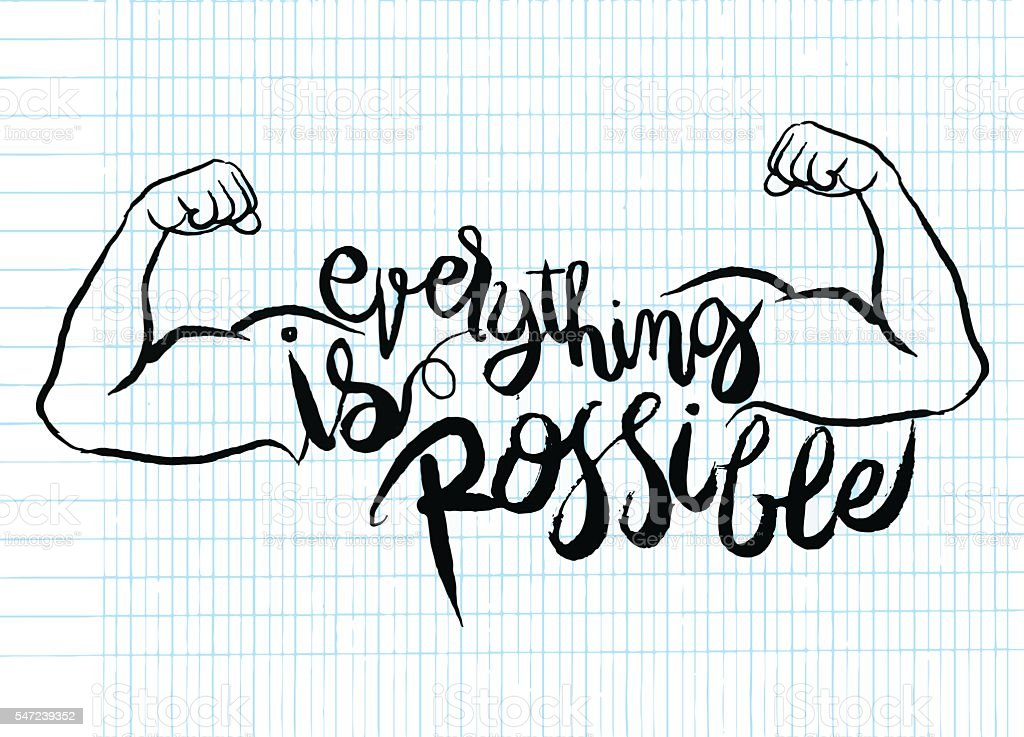 everything is possible card.strong man.Hand drawn lettering post - Illustration vectorielle