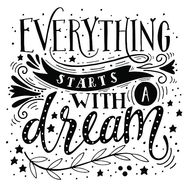 Everything starts with a dream. Inspirational quote. Hand drawn vector art illustration