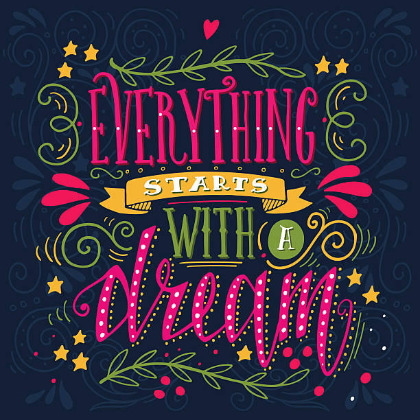 Everything starts with a dream. Quote. Hand drawn illustration vector art illustration