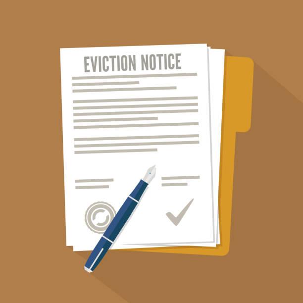 ilustraciones, imágenes clip art, dibujos animados e iconos de stock de formulario de aviso de desalojo. icono plano concepto - embargo hipotecario