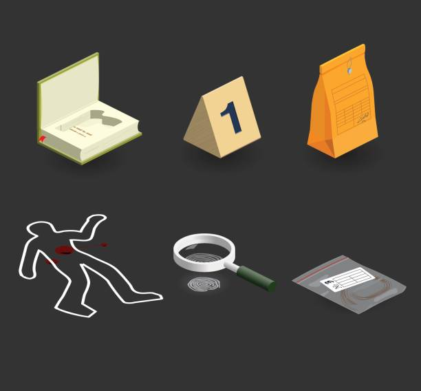 evidence icon set evidence icon set: crime scene stock illustrations