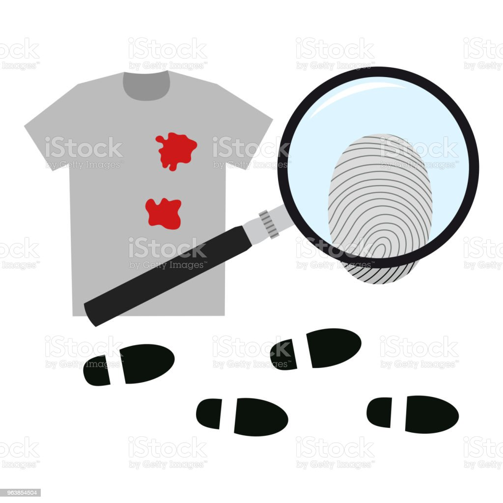 Evidence of the crime. Vector illustration. - Royalty-free Black Color stock vector