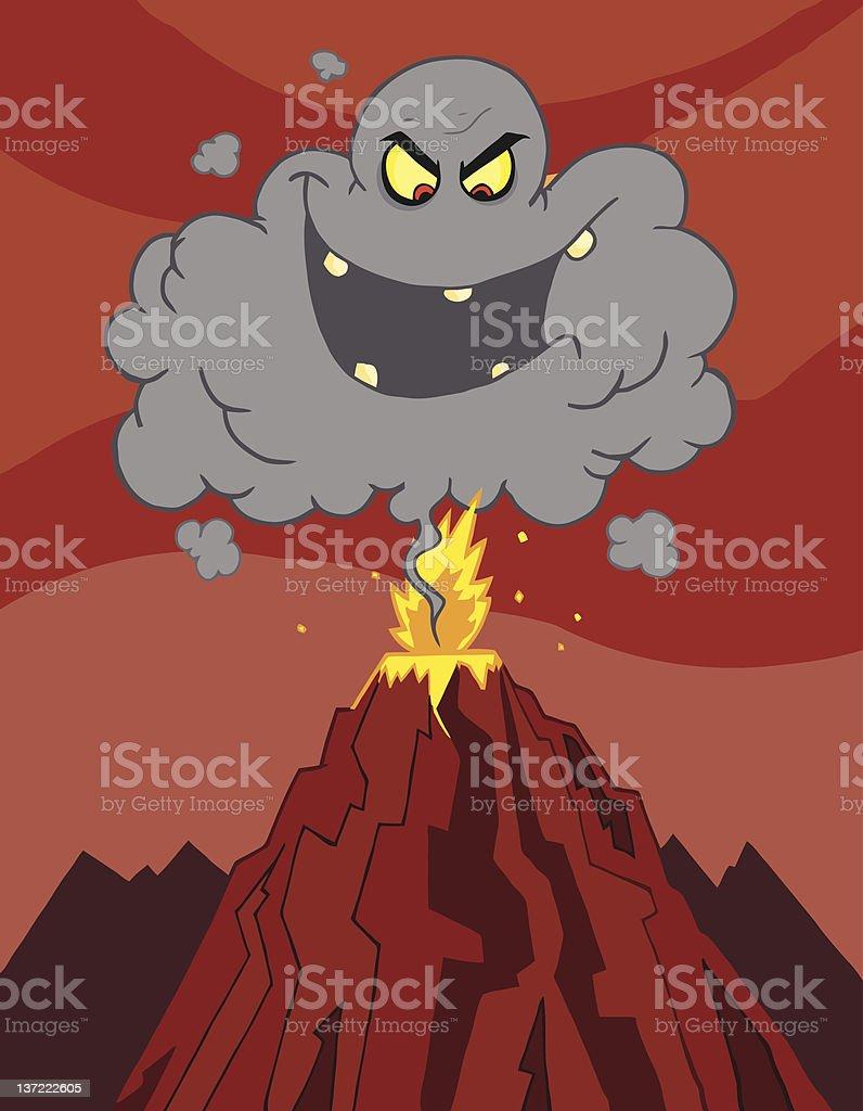 Evil Black Cloud Above An Erupting Volcano royalty-free stock vector art