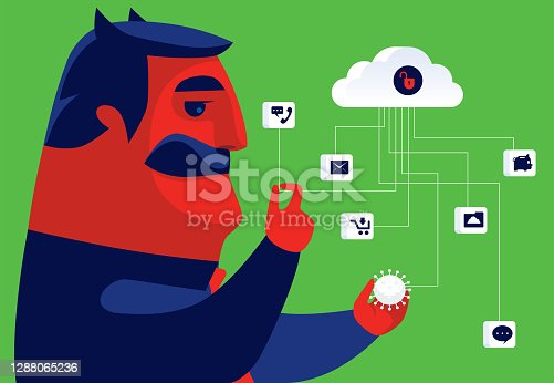 istock evil businessman checking data with unsafe cloud computing 1288065236